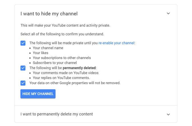 Tüm yorumları silmek için YouTube kanalını gizleme