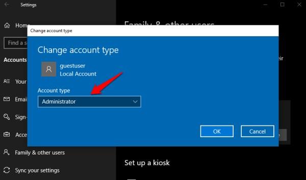 Windows 10'da kullanıcı hesabını admin olarak değiştir
