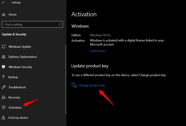evden Windows 10 pro'ya yükseltme