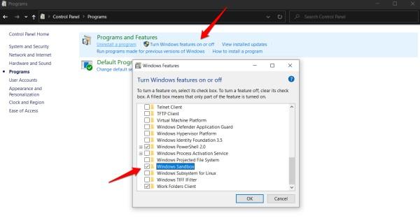 Windows 10'da korumalı alanı etkinleştir