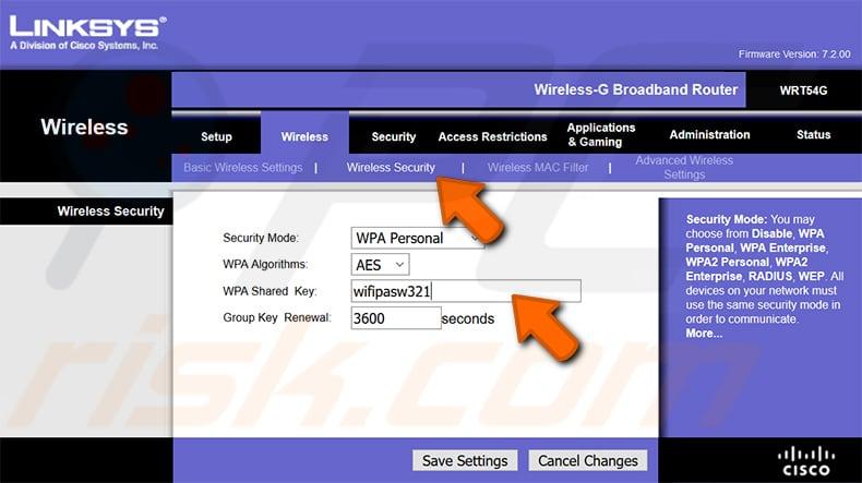 wi-fi şifrenizi bulun linksys wrt54g router 2. adım