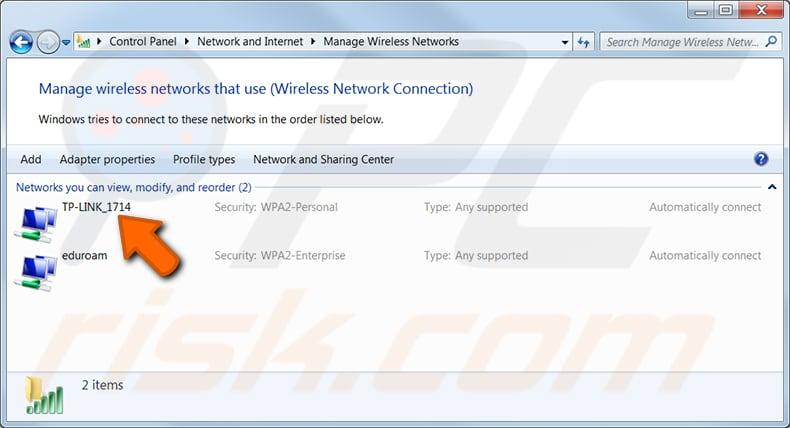 Windows 7 adım 3'te önceden bağladığınız bir ağın wi-fi şifresini bulun