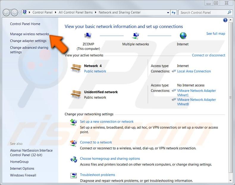 Windows 7 adım 2'de önceden bağladığınız bir ağın kablosuz şifresini bulun