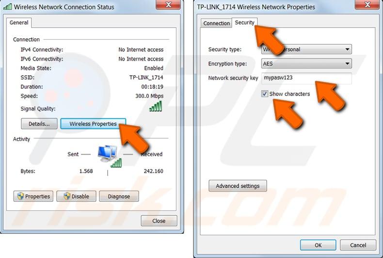 Windows 7 adım 3'te bir Windows bilgisayarda wi-fi şifrenizi bulun
