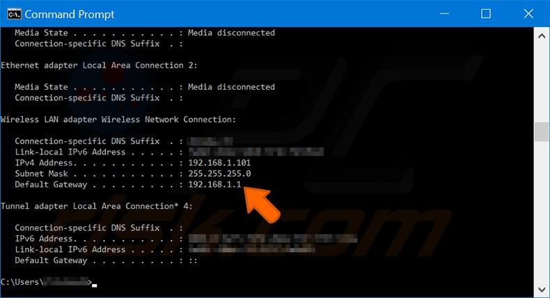 IP adresinizi bulun kablosuz lan bağdaştırıcısı