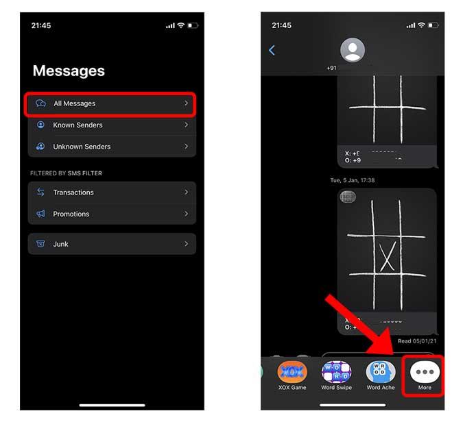 iMessage uygulamasının uygulama çekmecesinde daha fazla düğme