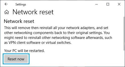 Windows PC'de Ağ Ayarlarını Sıfırla