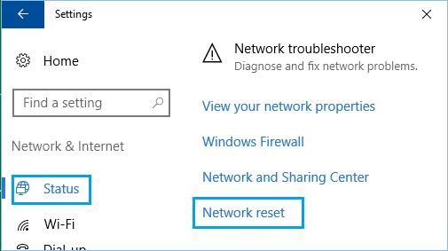 Windows'ta Ağ Sıfırlama Seçeneği